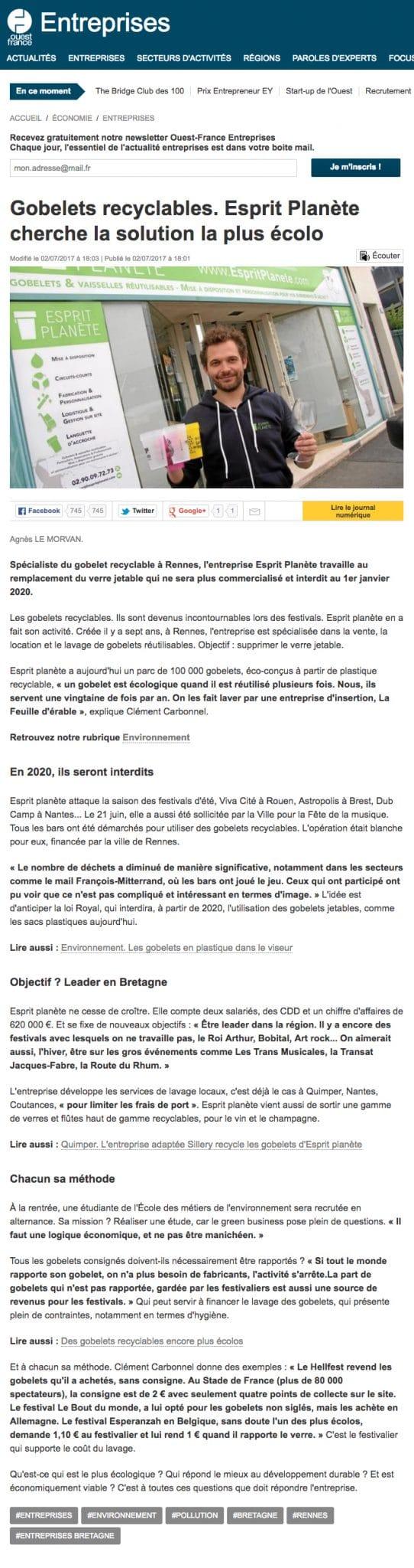 Gobelets personnalisés Ouest France