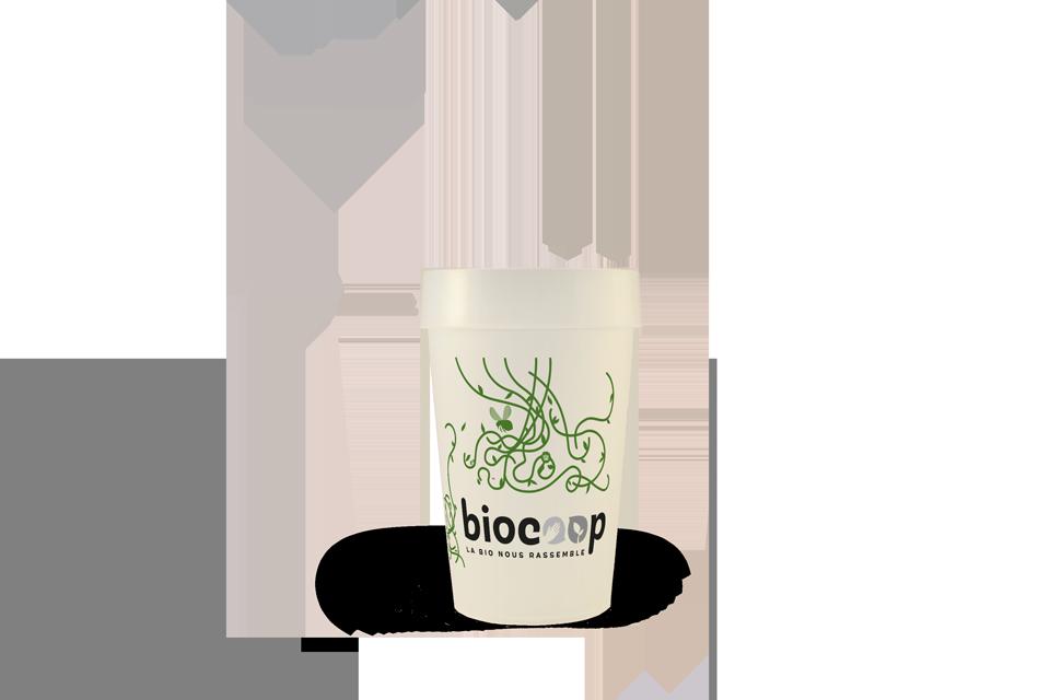 Gobelet Biocoop sérigraphie 2 couleurs EP25 Bioplastique d'algues
